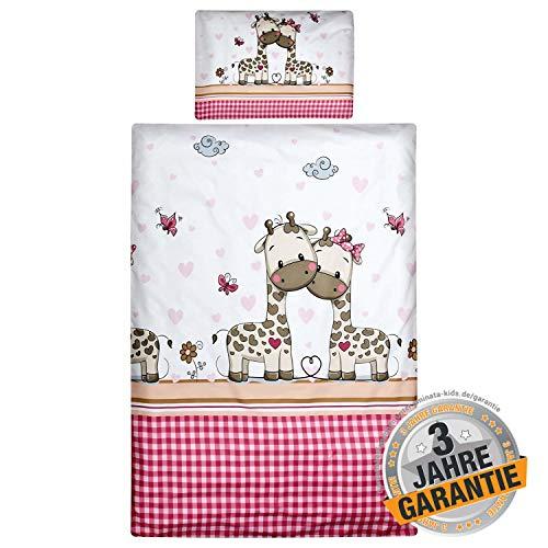 Aminata Kids Baby-Bettwäsche-Set Zoo-Tiere Giraffe - 100-x-135-cm - Mädchen - Kinder-Bettwäsche mit Herz - aus Baumwolle - weiß, pink, rosa - Marken-Reißverschluss & Öko-Tex