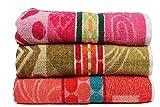 #6: Casa Basics 400 GSM Set Of 3 Jacquard Large Bath Towels 68 X 137 cm- Pink,Green & Orange