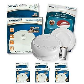3x Nemaxx WL10 Wireless Smoke Detector - with lithium battery fire alarm smoke alarms fire protection +3x Nemaxx NX1 Magnet - wireless smoke alarms fire protection