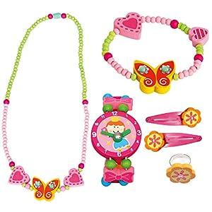 Bino 6 TLG. Set Holzschmuck Mädchenschmuck Kinderschmuck Motiv Schmetterling Gelb – Halskette Armband Haarspangen Armbanduhr Ring