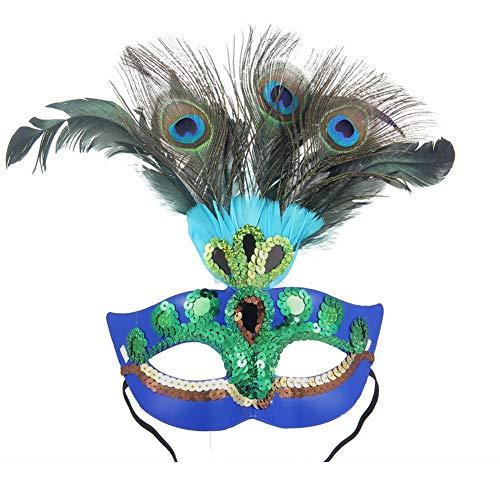 (YMXLJJ Lady Maskerade Maske Pfauenfeder Maske Halloween Party Weihnachten Maskerade Cosplay Kostüme Karneval Bälle (Blau))