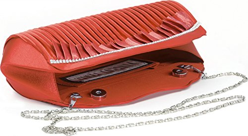 VINCENT PEREZ, Abendtaschen, Clutch, Umhängetaschen, Unterarmtaschen, Satin, Raffung, Strasssteine, 31,5x9,5x8,5cm (B x H x T) Rot (Koralle)