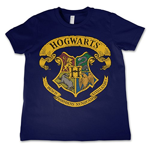 HARRY POTTER Offizielles Lizenzprodukt Hogwarts Crest Unisex Kinder T-Shirt - Marineblau 9/10 Jahre