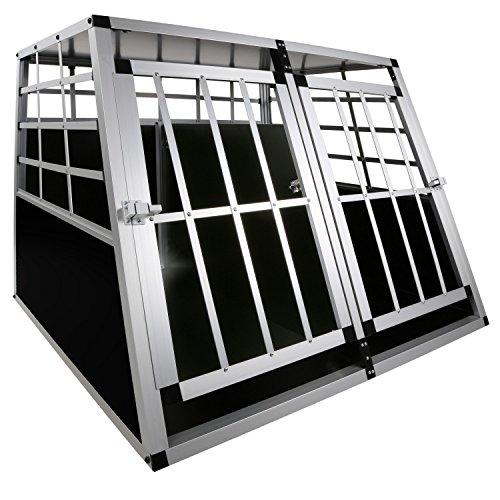 LovPet® Hundebox Transportbox Alubox Hundetransportbox Reisebox Alu Haustiere, Größe:XXL Doppeltüren + Trennwand