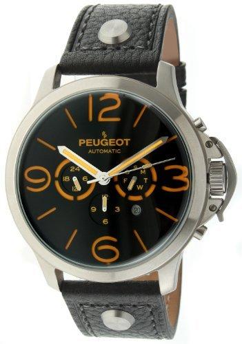 Peugeot MK912BKO–Wristwatch Men's, Leather Strap Black