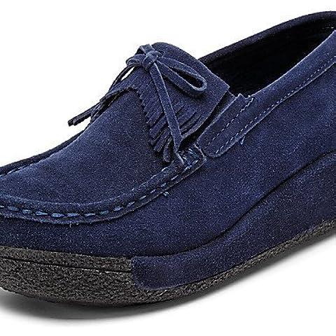 Ei&iLI Zapatos de mujer - Tacón Cuña - Cuñas / Plataforma / Creepers - Mocasines - Exterior / Oficina y Trabajo / Casual - Ante -Negro / Azul / , red-us8 / eu39 / uk6 / cn39 , red-us8 / eu39 / uk6 / cn39