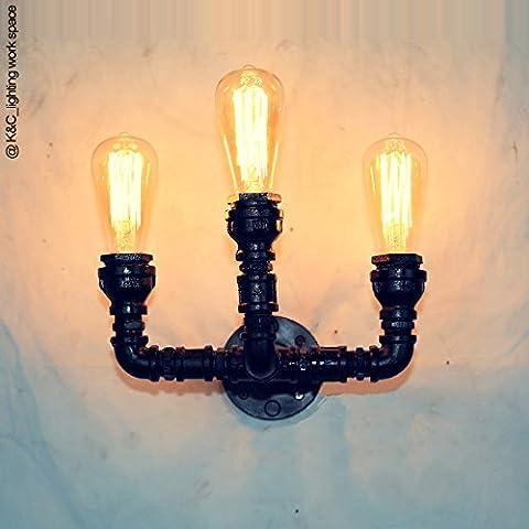 Winson Loft Industriale Modalità di ripresa Creative della parete del tubo luci Cafe Bar Hot Pot Restaurant in magazzino per gestire la vecchia lampada da parete ,3 testa di personalità