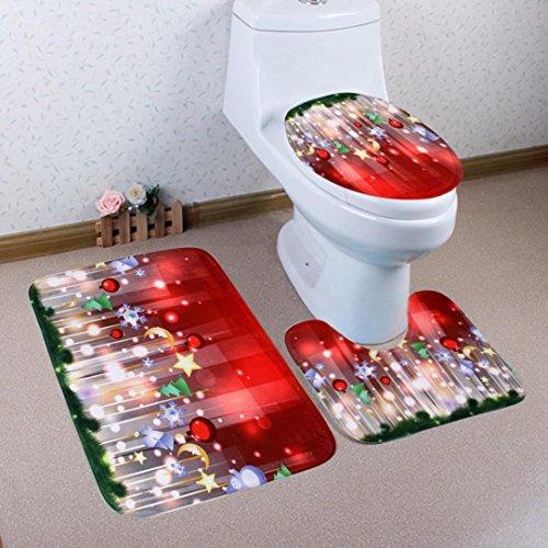 Badewannenmatte,BBTXS Weihnachten 3 Stück Toiletten-Abdeckung Set Bad WC Set Sitzbezug (Bad Teppich + Pedestal Teppich + Toilettensitzabdeckung), eine Vielzahl von Mustern optional (E)