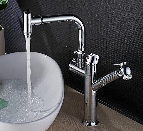 Makej Einhand Bad Wasserhahn Waschtischarmatur Chrom Messing Herausziehen Waschbecken Wasserhahn Swivel Spray Einhebelmischer (Swivel Spray)