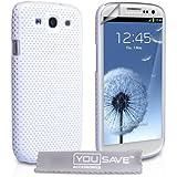 Samsung Galaxy S3 Tasche Weiß Masche Harte Hülle Mit Displayschutz Und Poliertuch