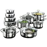 Karcher Jasmin 121008 20-Piece Cookware Set with Roasting Pot and 4 Bowls Stainless Steel for Induction