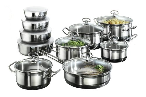 Karcher Jasmin Cookware Set with Pan, Stainless Steel, 20-Piece with glass Lids and 4 Bowls