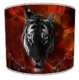20,32 cm impresión del tigre 1 cortina de lámpara de mesa, 30,5 cm