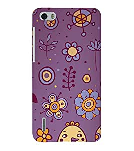 Printvisa Animated Flowers And Birds In Blue Background 3D Hard Polycarbonate Designer Back Case Cover For Huawei Honor 6