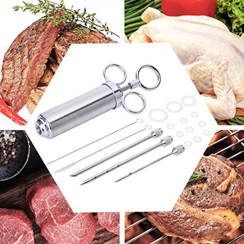 EVILTO 60ML BBQ Bratenspritze, Edelstahl 304 Marinierspritze mit 3 Mariniernadeln Fleischspritze Marinadenspritze Gewürzspritze für BBQ Fleisch Rind Huhn Gebäck FDA...