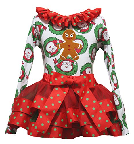 Petitebelle Lebkuchen-Mann-Weihnachtsmann L/s Shirt mit Band Petal Rock Nb-8J 1-3 Jahre ()
