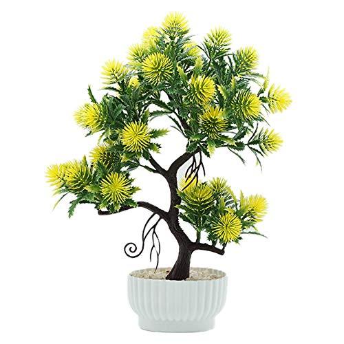 Fansi 1 Bündel Simulation Kiefer Pflanze Bonsai Künstliche Pflanzen für Hochzeit Büro Treffen Restaurant Garten Wohnzimmer Schlafzimmer Schreibtisch (Ohne Vase) - Schlafzimmer Kiefer Schreibtisch