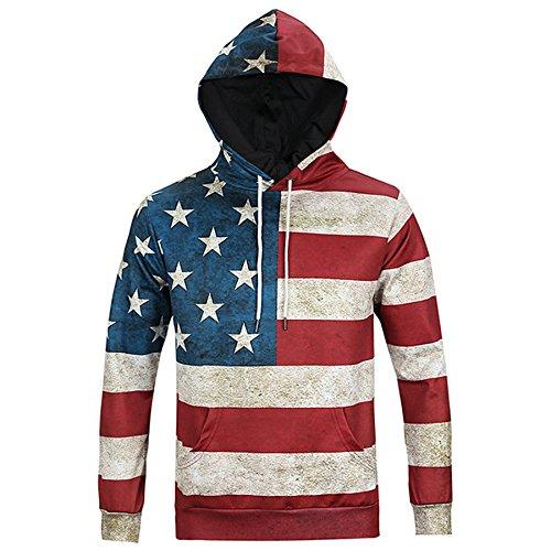 RXBC2011 Felpa con cappuccio 3D Print American Flag Felpa con cappuccio grafico per il maglione L (L)