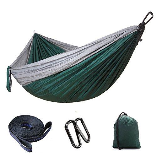 LHLCG Einzel- und Doppel-Camping-Hängematte Tragbare, leichte Nylon-Fallschirm-Hängematten Tragkraft 300 kg für den Rucksack-Camping-Reisestrand, Green2,300x200CM
