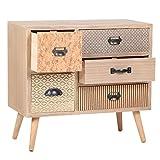 Viva Home Armario de madera MDF, 60 x 30 x 45 cm para salón o comedor, con 5 cajones diferentes, Color marrón claro