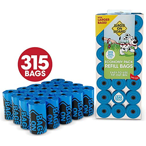 Bags on Board Hundekotbeutel, robust, auslaufsicher, 22,9 x 35,6 cm, Blau, 315 Bags, blau -