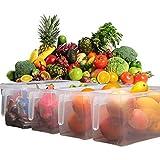 GosFrid Plastic Square Handle Food Storage Organizer Boxes with Lids for Refrigerator Fridge Cabinet Desk, Transparent