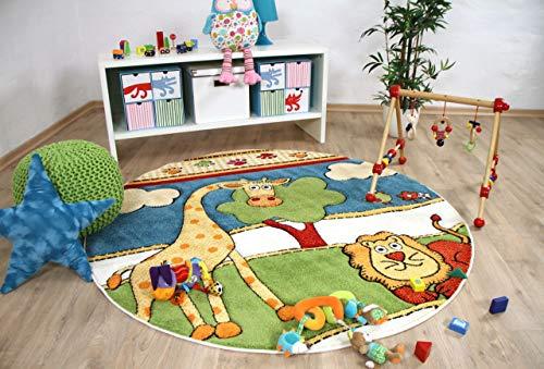Savona Kids - Alfombra Infantil - Animales de zoológico Redonda - Coloridos en 3 tamaños