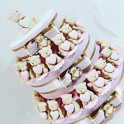 Bomboniere nascita bimba orsetti ceramica - torta da 35 fette con 35 oggetti + centrale + confetti rosa al cioccolato