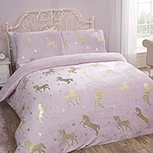 Sleepdown Foil Flannel Unicorn Blush Stars Reversible Soft Duvet Cover Quilt Bedding Set With Pillowcase - Single (135cm x 200cm)