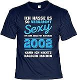 T-Shirt 16 Geburtstag - Geburtstagsshirt Sprüche Jahrgang 2002 : Ich Hasse ES .aber mit Baujahr 2002 - Geschenk-Shirt Zum 16.Geburtstag Mädchen/Junge Gr: M