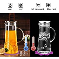 Water Jugs,BOQO Glass Pitcher,Stainless steel lid,Borosilicate Carafe,Coaster (53 oz/1.5L)