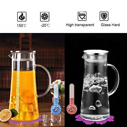 Wasserkaraffe ,BOQO1.5L Glaskaraffe, Wasserkrug mit Blütenblatt Edelstahldeckel Karaffe (Glaskanne) (Kalte Infusion Kaffee)