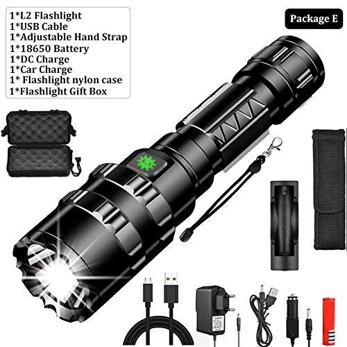 MissGao Taktische Taschenlampe, LED-Aufklärungsflugzeug, L2-Lampe für superhelle Jagdfische, wiederaufladbare wasserdichte USB-Taschenlampe, 5 Modi -