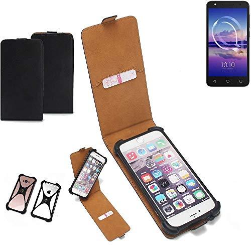 K-S-Trade Flipstyle Case für Alcatel U5 HD Single SIM Schutzhülle Handy Schutz Hülle Tasche Handytasche Handyhülle + integrierter Bumper Kameraschutz, schwarz (1x)