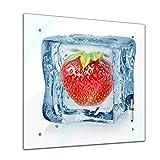 Memoboard 40 x 40 cm, Essen & Trinken - Eiswürfel Erdbeere - Glasboard Glastafel Magnettafel Memotafel Pinnwand Schreibtafel - Frucht - Früchte - Obst - Beere - rot - Erdbeere im Eiswürfel - Eis - Wasser - Küche - Küchenbild - Esszimmer - Motiv - Design