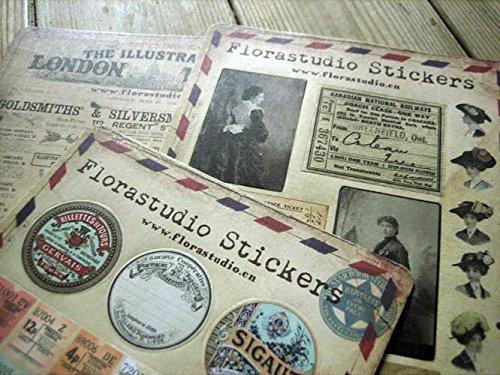 Conjunto de 10 hojas de pegatinas Vintage Deco pegatinas de papel de la etiqueta engomada de Scrapbooking