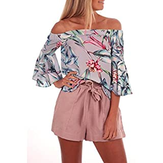 Womens Off Shoulder Floral Printed Blouse Casual Tops T Shirt Blouse Tops/Womens Tops Coats and Jackets Summer Clothes (M, A)