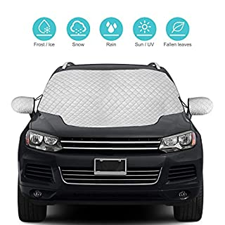 QcoQce Car Windscreen, SUV Magnetic Snow Cover with Two Mirror Covers, Windshield Ice Cover Dust Sun Shade Protector in All Weather (157×126cm)