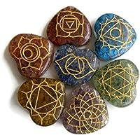 Set 7Chakra Steine mit Symbolen, herzförmige Spirituelle Heilung Stein Kit, natürliches Multi Edelstein Heilstein... preisvergleich bei billige-tabletten.eu
