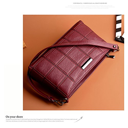 Yoome Waffle modello retrò sacchetti di grandi capacità per borsa da donna borsa da crociera - Borgogna Viola