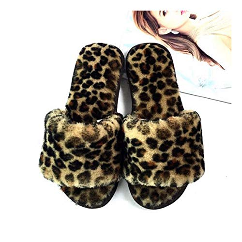 OMFGOD Slippers Damen Baumwolle Hausschuhe Winter Home Innen Warm Non-Slip Soft Angenehm Leise, Schuhe, Leopard Print, 40