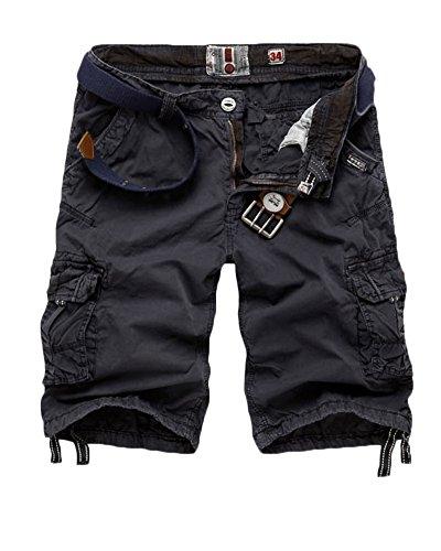 Pantaloni Uomo Pantaloncini Cargo Pantaloncini Corti Jeans Denim Shorts Pantaloncini Pantalone Bermuda con tasche Grigio Scuro