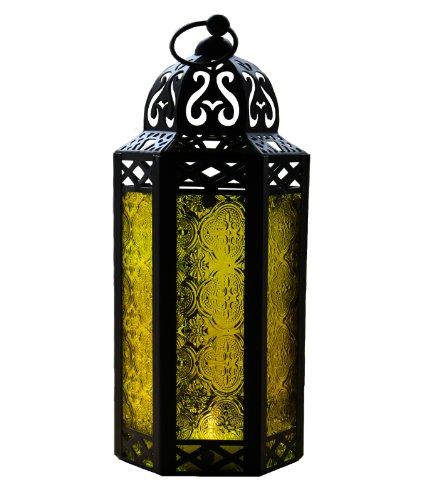 Linterna de Vela de Estilo marroquí de Vidrio Amarillo