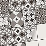 Carrelage Autocollant - Stickers Carreaux Cuisine I Carreau de Ciment adhesif Mural pour Cuisine et Salle de Bain I Stickers carrelage (20x25 cm I 6 - Pièces)