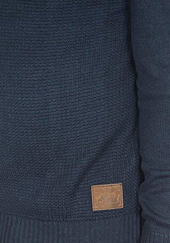 SOLID Trey Herren Strickjacke Cardigan Grobstrick mit Stehkragen aus hochwertiger Baumwollmischung Meliert Insignia Blue Melange