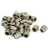 sourcingmap 30pcs M6x10mm Rosca Hex Socket Tuerca de Inserto Remachable Metal Chapado Cincado para Carpintería Madera