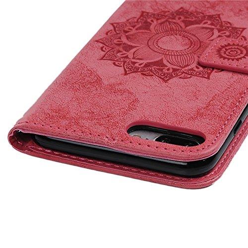 iPhone 7 Hülle, Yokata PU leder Case mit Mandala Motiv Lederhülle Schutzhülle Folio Flip Wallet im Bookstyle Magnetverschluss Protektiv Handyhülle Tasche + 1 x Kapazitive Feder - Schwarz Rote