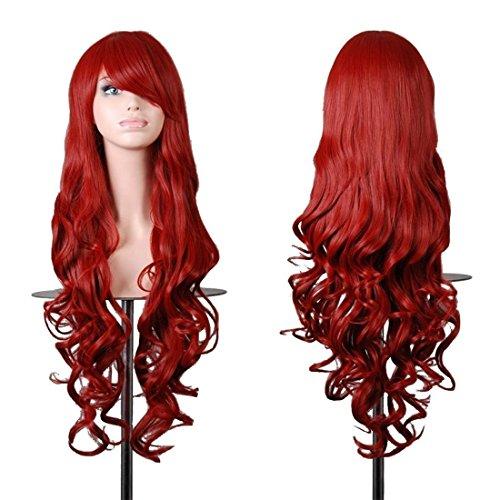 (Chiguo Perücke 80cm Glamourös Blond Langes Spirale lockige Haar Blond Schwarz Braun Rosa Grau Usw Perücken für Damen Karneval Cosplay Halloween Schaufensterpuppen Mottoparties (Rot))