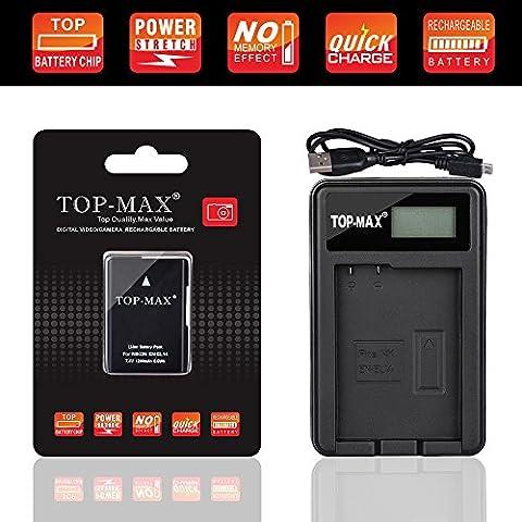 TOP-MAX® EN-EL14 EN-EL14a Battery + USB Charger (LED Screen) for