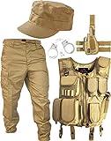 SWAT Kostüm Coyote bestehend aus Weste, Hose, Pistolenholster, Cap und Handschellen Größe M